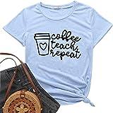Winsummer Womens Coffee Teach Repeat Tshirt Funny Classroom Teacher Tee Summer Short Sleeve T-Shirt Tops