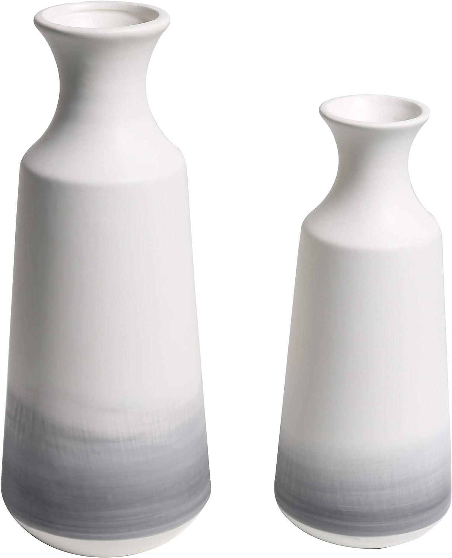 TERESA'S COLLECTIONS Ceramic Modern Vase Set for Home Decor,Handmade Grey and White Aquarelle Decorative Flower Vases for Living Room, Kitchen, Bedroom Decoration (Set of 2)