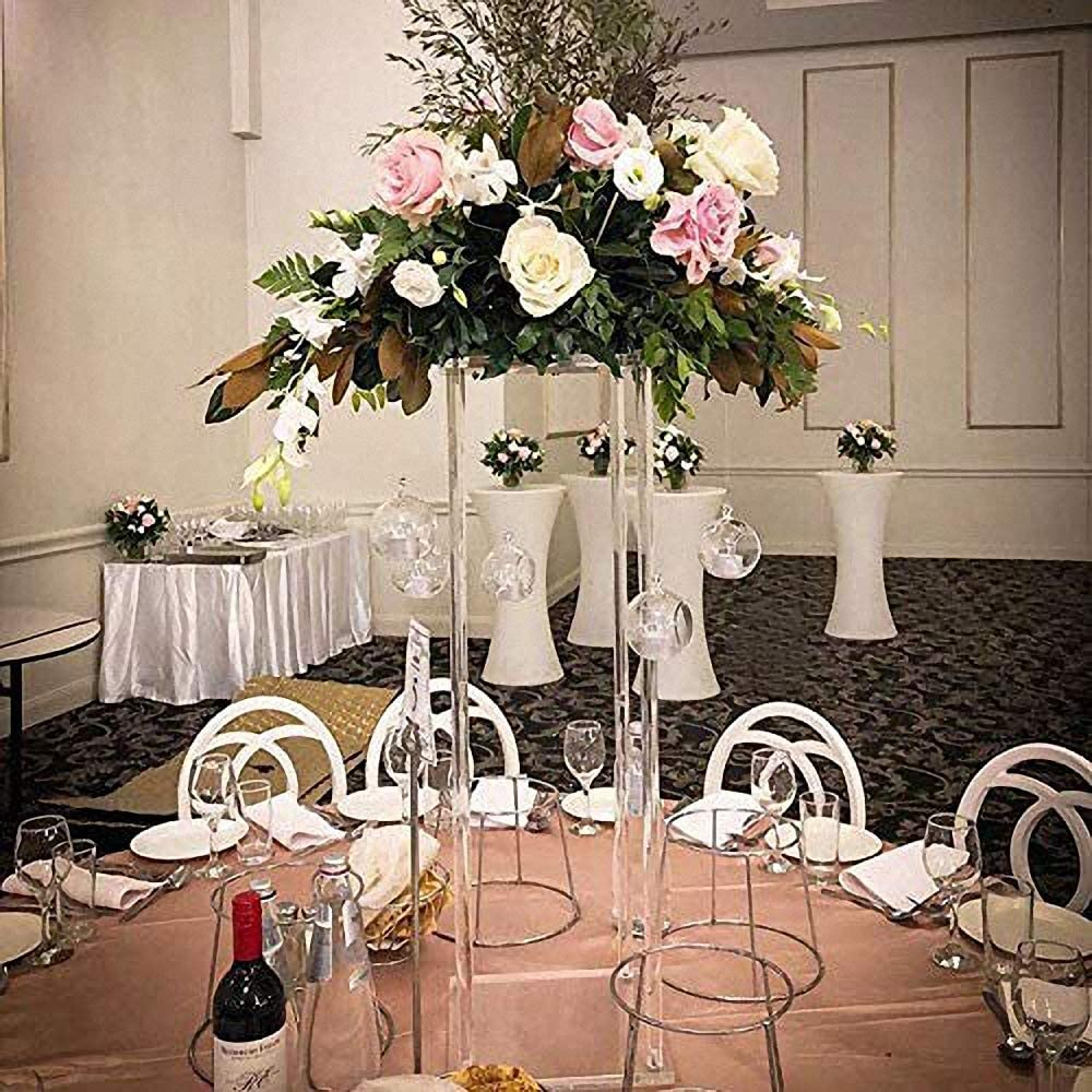 Amazon Com Everbon Wedding Decorations Supplies Table Decorative Flower Vases Metal Stand Clear Backdrops Frame For Events Party Decor 24 Tall 7 87 Diameter Health Personal Care