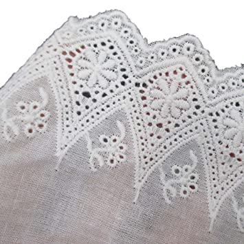 White Cotton Floral Eyelet Embroidered Lace Trim Fabric 4 Inch 10cm Wide By  5 Yards For