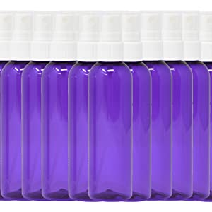Travel Spray Bottles 2oz. PET Plastic Sets with White Fine Misting Sprayers For Essential Oils, Aromatherapy, Perfumes, Bug Repellent, Liquids (2oz. 50 Pack, purple)