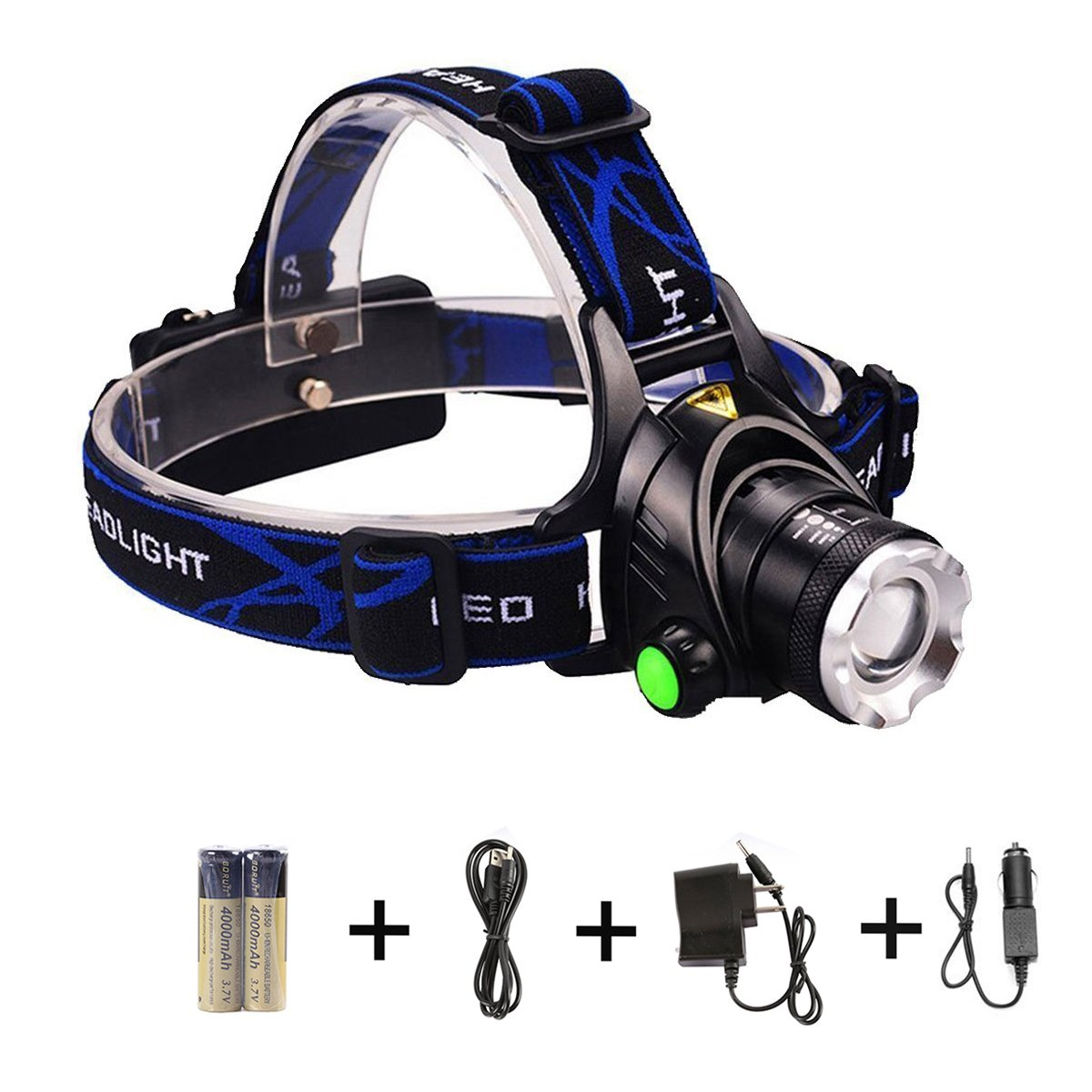LED Headlamp, szwintec CREE XM-L T6 LED 1200 Lumens, Flashlight with Zoomable 3 Modes, Hands-Free Headlight, Battery Powered Helmet Light for Camping, Running, Hiking, Reading