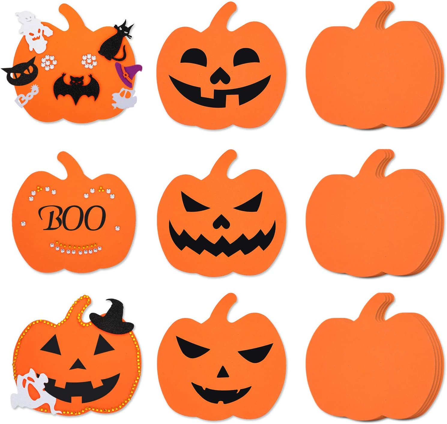 Not Self-Adhesive 36 Pieces Large Halloween Foam Pumpkins Foam Crafts Supplies Decorative Pumpkin Shaped Stickers for Halloween DIY Art Craft 5.9 Inches