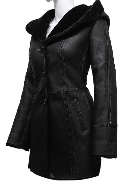 Amazon.com: ABSY negro señoras Gabardina estilo real ...