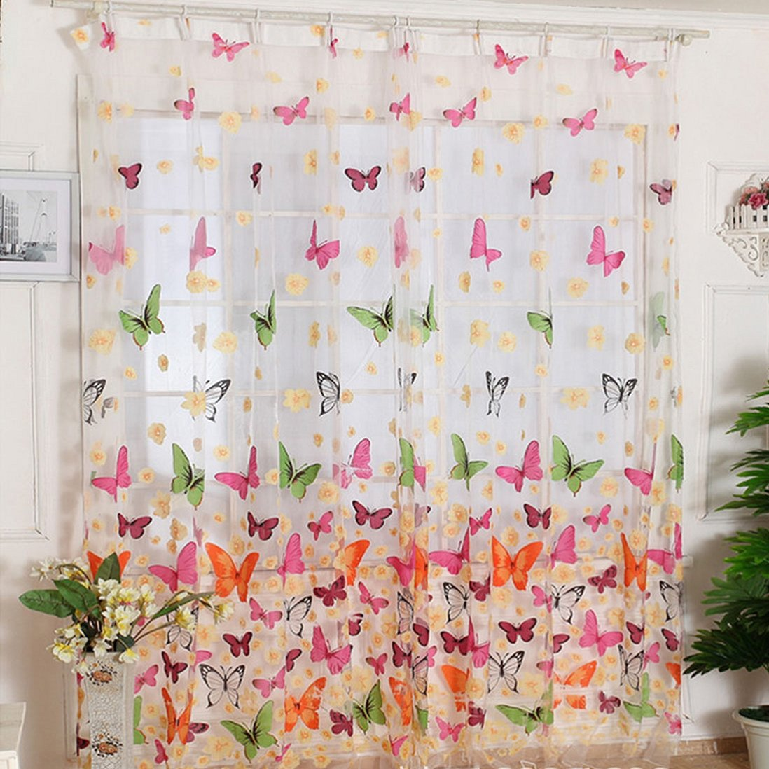 Amazon.com: Outtop Butterfly Print Sheer Window Panel Curtains Room ...