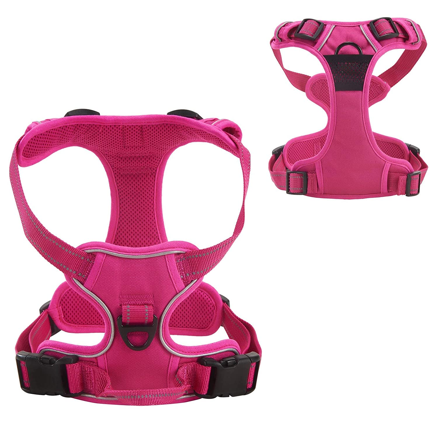 Louvra Dog Harness Small Heavy Duty Pet Dog Vest Harness with Handle Outdoor Adventure 3M Reflective No Pull Small Dog Harness for Puppy Dog Training or Walking S-M-L-XL(Pink,S)