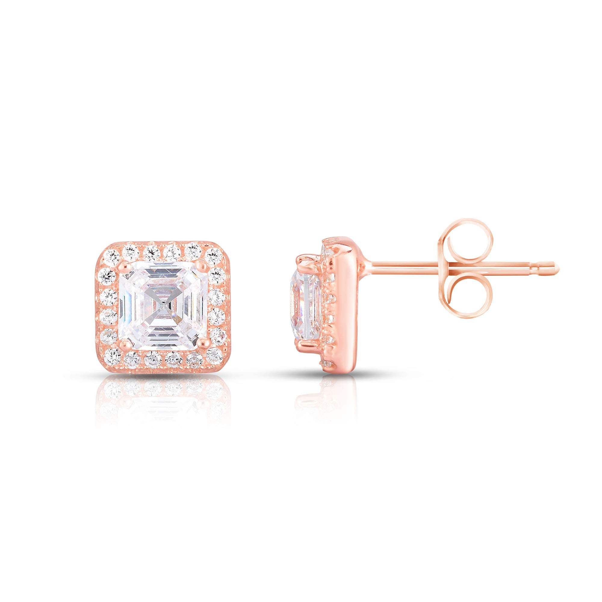 Spoil Cupid Rose Gold-Plated Sterling Silver Asscher Cut Cubic Zirconia Halo Stud Earrings