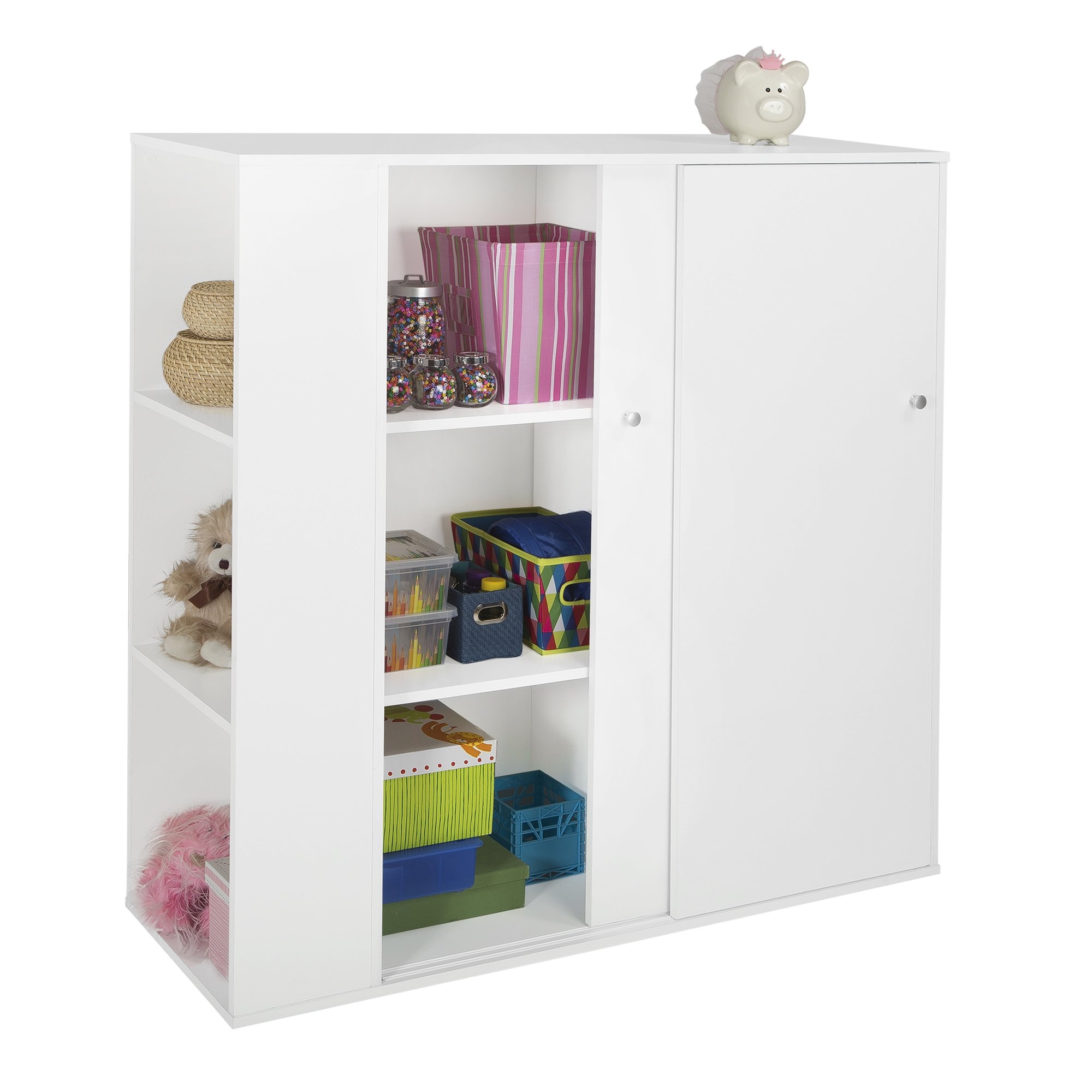 South Shore Kids Storage Cabinet with Sliding Doors, Pure White