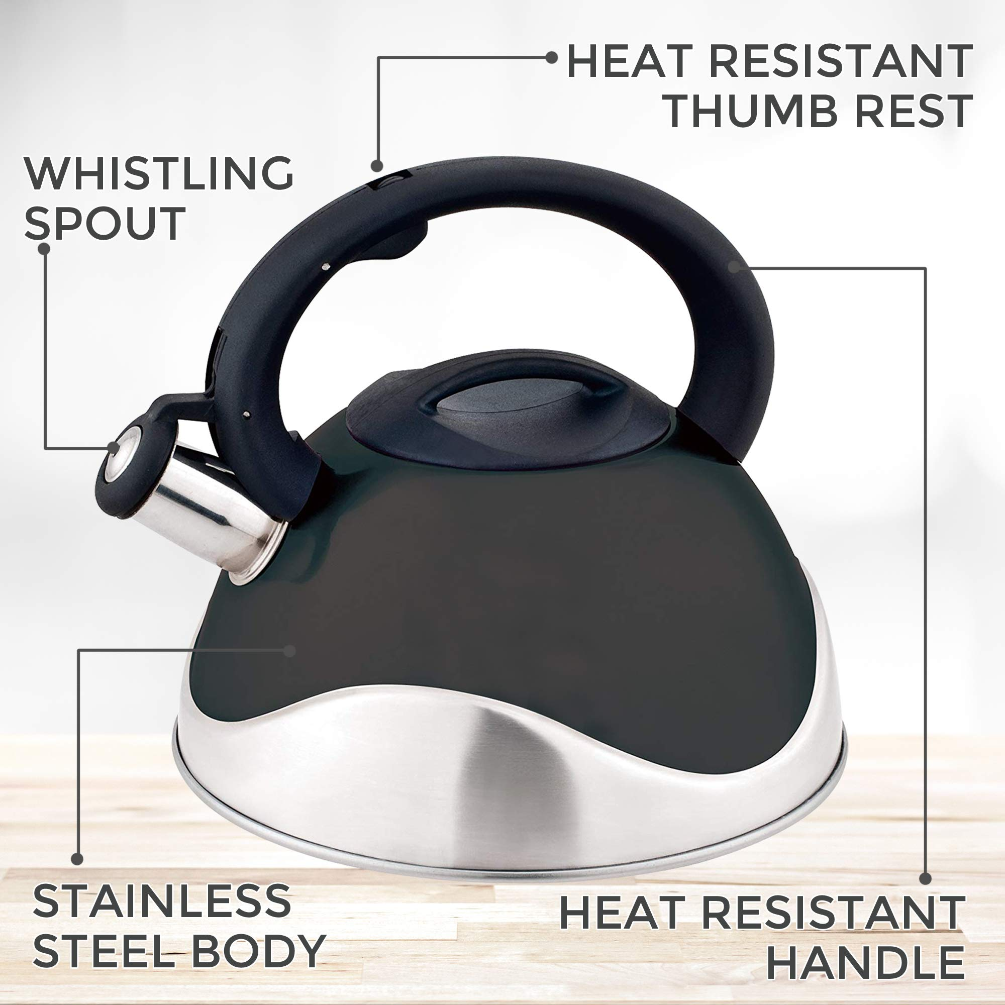 Whistling Stainless Steel Food Grade Black Tea Kettle with Soft Grip Anti-Hot Handle Anti-Rust 13 Cup Teapot by American Dream- Stovetop Suitable  for All Heat Sources Capsuled Bottom Teakettle by American Dream (Image #3)