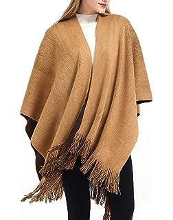 Xinvivion Femme Cape Poncho Rayure Pompon Manteau Cardigan Hiver Ourlet irr/égulier Outwear Chaud Femme /Écharpe Cape /Épaissie