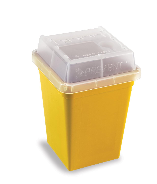 Heathrow Scientific HD120178 - Contenitore per aghi e rifiuti taglienti, 1 l, 18 pezzi, giallo HS120178