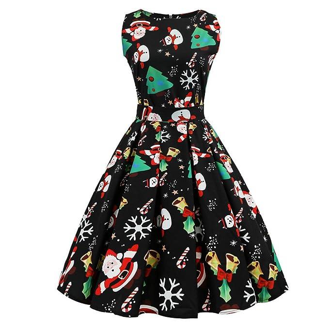 Cebbay Navidad Faldas Mujer Vestido de Cuello Redondo Estampado Vintage Fiesta de Faldas largas Vestido de