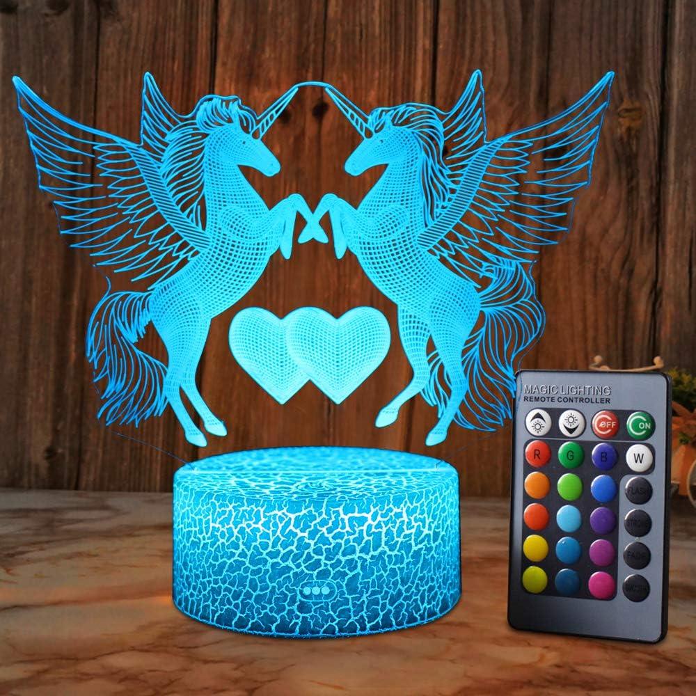 XEUYUTR Unicorn LED Night Light Lamp Room Decorazioni per feste Regali di compleanno di Natale Lampada da comodino presente per ragazze Ragazzi Bambini Neonati