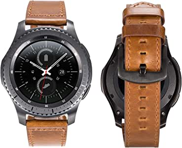 Gear S3 Band, Directa 22mm Leather Strap for Man and Women Italian Oil Watch Band (Vintage Brown, 22mm)
