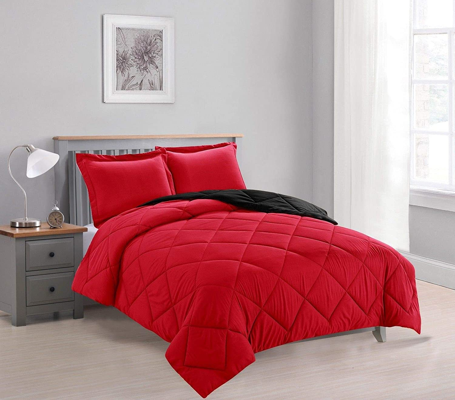Empire Home 3-PC Reversible Down Alternative All Season Comforter Set with (Red/Black, Full Size)