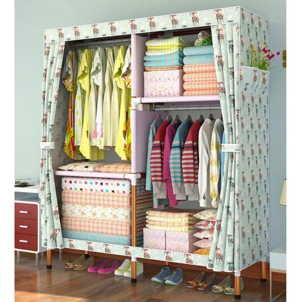 F 66.951 inch Portable Thick Wardrobe Oxford Cloth Fabric Free Standing Storage Organizer - Portable, Detachable, Lightweight and Clothing,E,66.9''51 ''