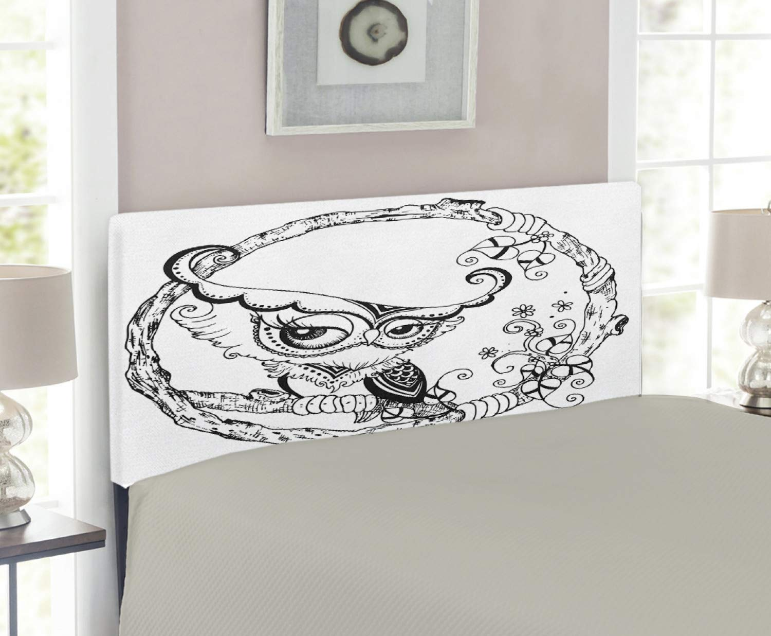 quality design ca02b 6cda3 Amazon.com - Lunarable Owl Headboard, Romantic Black Bird ...