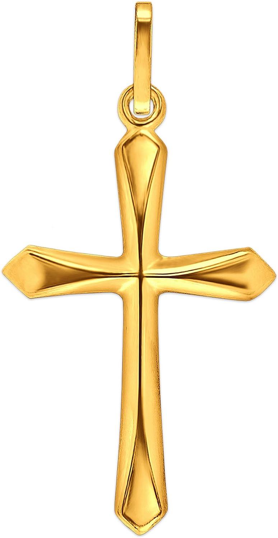 CLEVER sCHMUCK pendentif en forme de croix l/ég/èrement 20 mm simple pointe avec extr/émit/é en v/éritable or 333