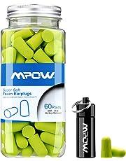 Mpow Tapón de Espuma 34dB Máximo NRR, 60 Pares con Estuche de Aluminio, para Protección Auditiva, Dormir, Roncar, Trabajo, Disparar, Viajar, Concierto