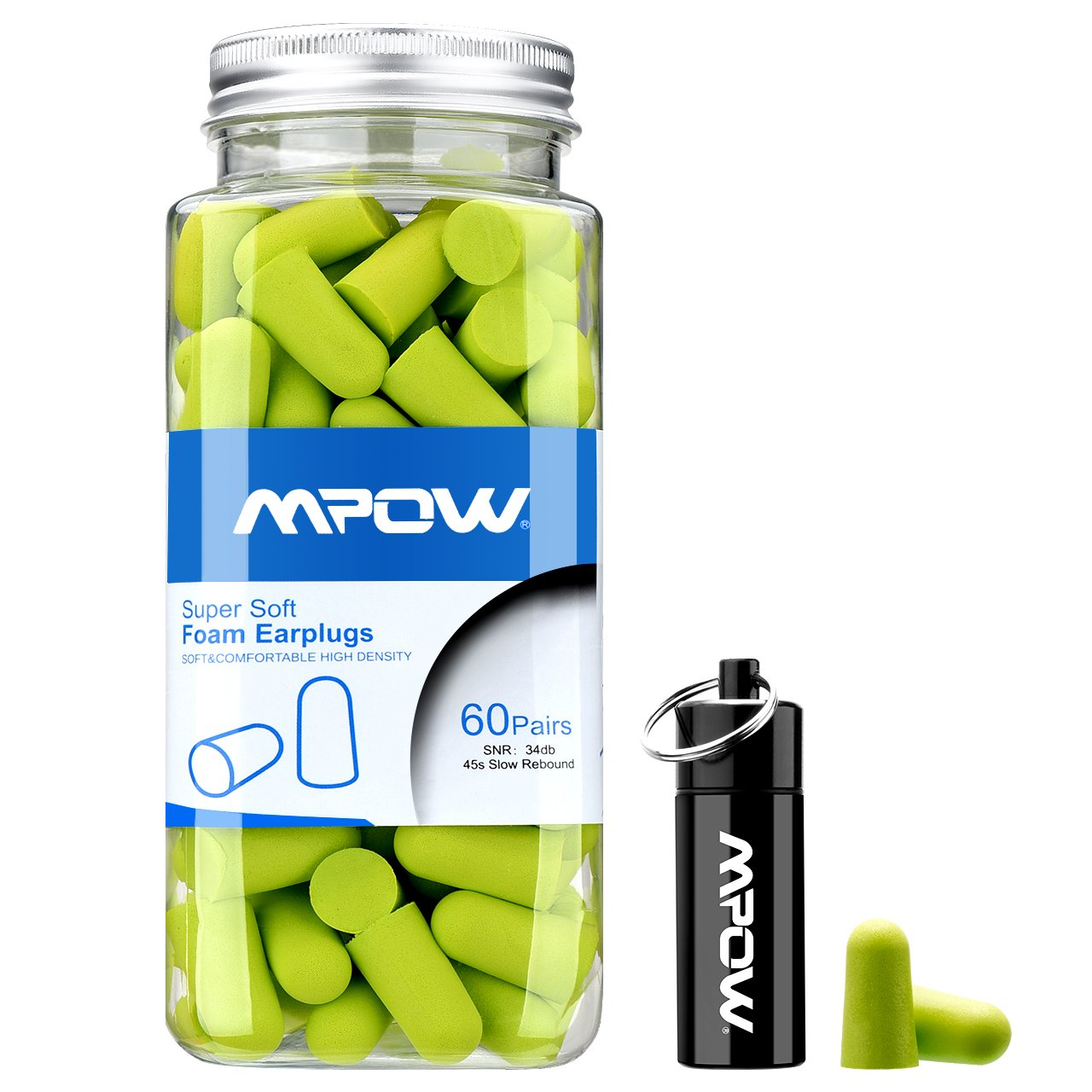 Mpow Foam Earplug, 34dB Highest NRR, 60 Pairs with Aluminum Carry Case, for Hearing Protection, Noise Reduction, Hunting Season, Sleeping, Snoring, Working, Shooting, Travel, Concert by Mpow (Image #2)
