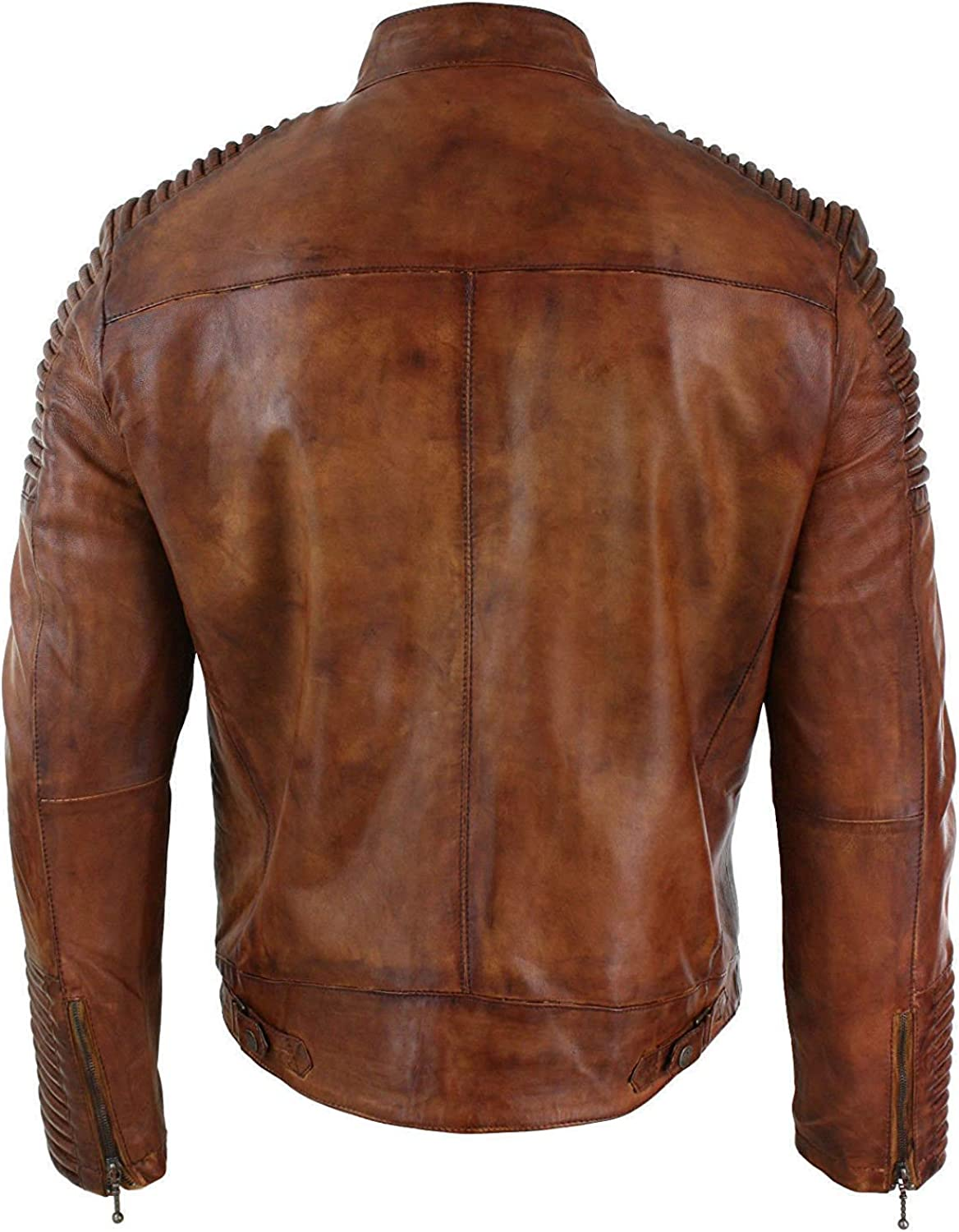 Men/'s Camel/'s Brown Heavy Quilted Vintage Cafe Racer Motorcycle Real Leather Jacket