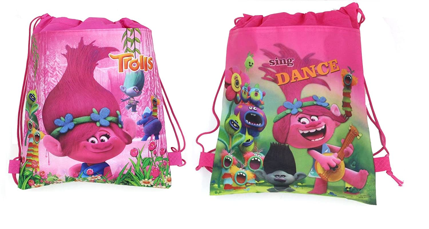 6d145c987aed0 12 Piece Trolls Dreamworks Drawstring Bag Backpack for Party Favors Goodie  Gift Birthday Bags