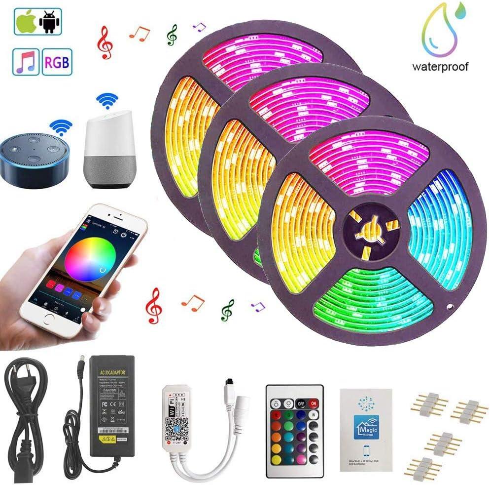 Ototon 15M Tira de LED WiFi Intelligent 5050 RGB Iluminación con 450 LEDs IP65 Impermeable Con Mando a Distancia y Adaptador Corriente Compatible con Alexa Echo, Google Home Para TV, Fiestas