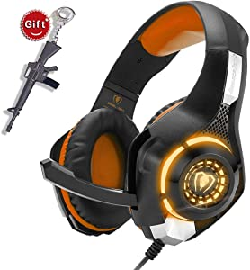 Orange Gaming Headset for New Xbox One PS4 PC Laptop Tablet with Mic, Over Ear Headphones, Noise Canceling, Stereo Bass Surround for Kids Mac Smartphones Cellphone