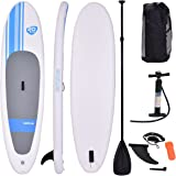 "Goplus Inflatable 10' Cruiser SUP StandUp Paddle Board Package w/ Leash Fin Adjustable Paddle Pump Kit Carry Backpack, 6"" Thick"