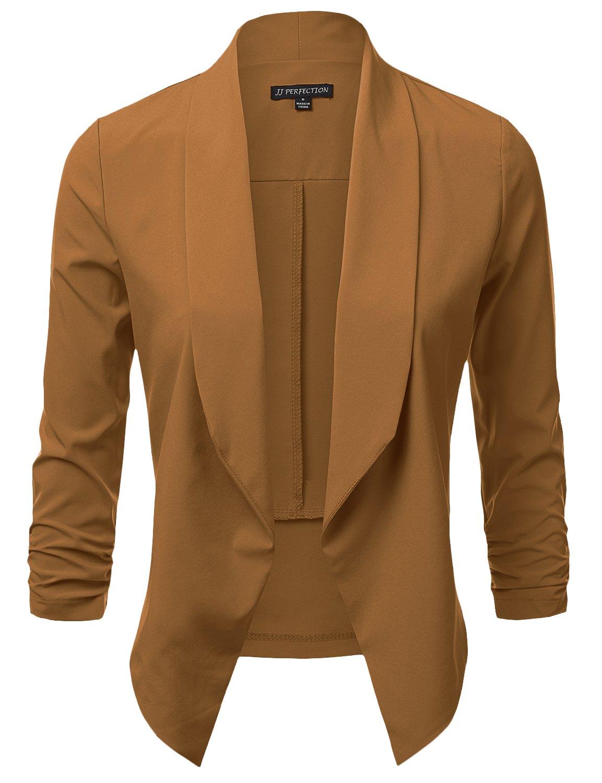 JJ Perfection Women's Lightweight Chiffon Ruched Sleeve Open-Front Blazer Camel 3XL