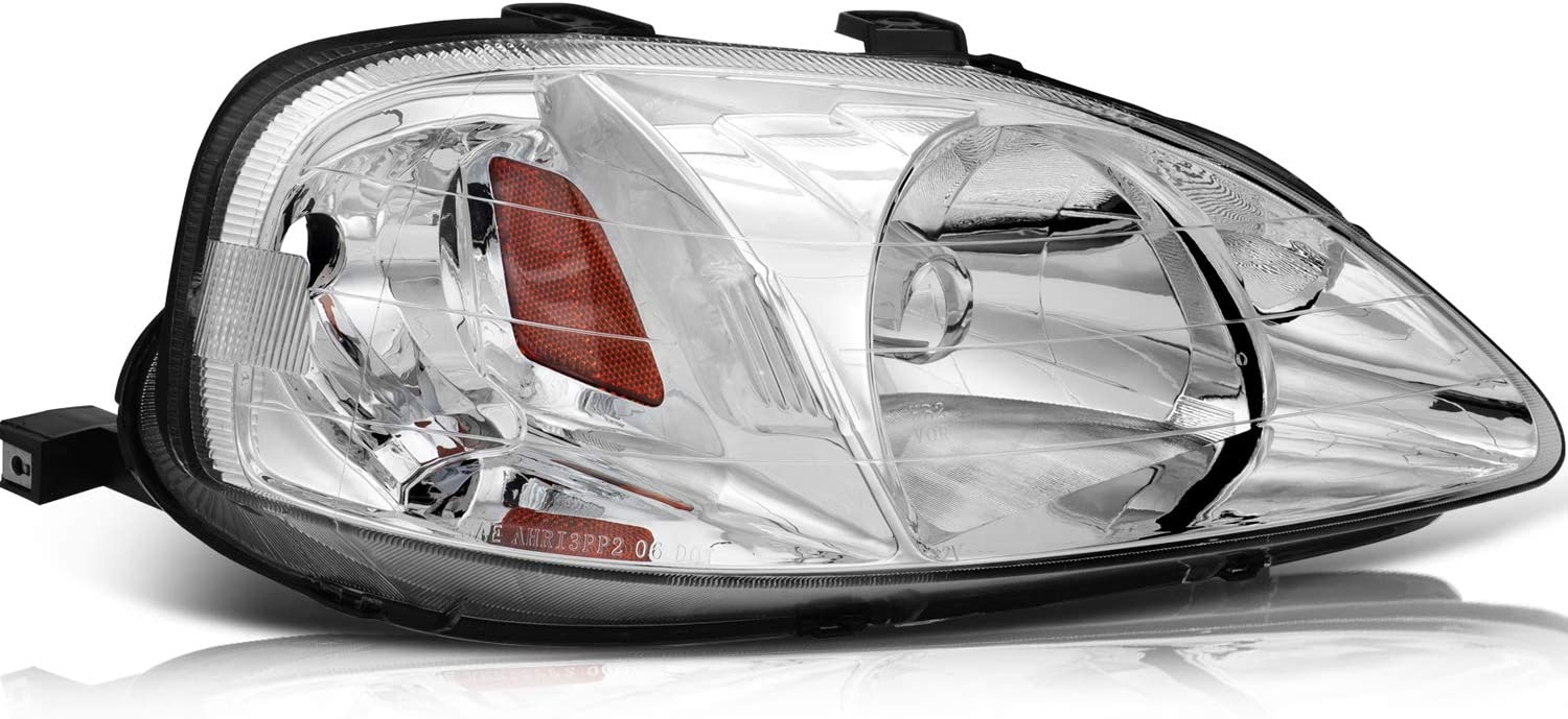 TUPARTS Chrome Housing Amber Reflector Clear Lens Headlight Pair Fit for Honda Civic 1999-2000 Headlight Assembly