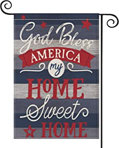 AVOIN God Bless America Garden Flag Double Sided My Home Sweet Home, 4th of July Memorial Day Independence Day Yard Outdoor Decoration 12.5 x 18 Inch