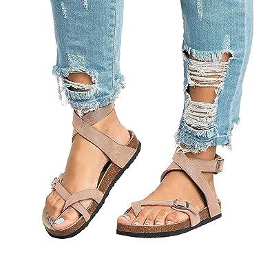a1d8717d947b1 Chenghe Women s Flat Ankle Buckle Sandals Gladiator Thong Flip Flop Sandal  Beige 5.5 ...