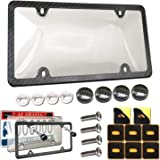 Aootf License Plate Cover and Frame Combo - Premium Quality Clear Bubble License Plate Shield and Black Aluminum Carbon…