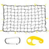 """3'x4' to 6'x8' Heavy Duty Latex Cargo Net with 12 Tangle-free D Clip Carabiners + 12 Nylon Hooks, Small 4""""x4"""" Mesh, 5mm Cord, for Pickup Truck Bed and SUV Rooftop Travel luggage Rack"""