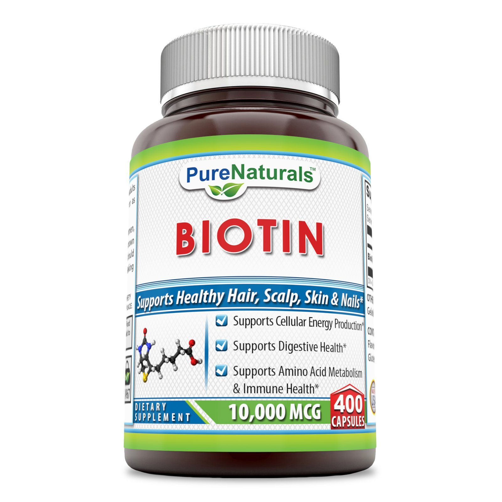 Pure Naturals Biotin 10,000 Mcg, 400 Capsules- Supports Cellular Energy Production, Supports Digestive Health and Immune Health