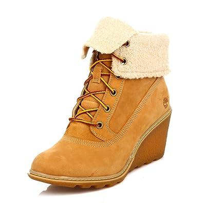 Roll Wedge Boots Damen Timberland Top Amston Leder Wheat XOkn0P8w