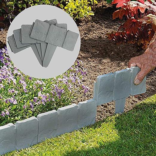 PowerBH 10PCS 2.5M Valla de plástico para jardín La Valla de jardín se Puede empalmar Valla de Piedra de imitación Cama de Flores Decoración de Valla de plástico: Amazon.es: Jardín