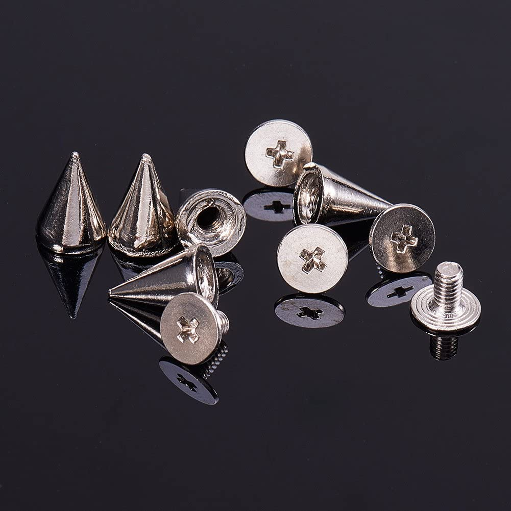 Silver and Gold 10x7mm NBEADS 200pcs Leather Rivets Metal Bullet Studs Cone Spikes Screw for Punk Jewelry Belt Bag Leathercraft Clothes Shoes