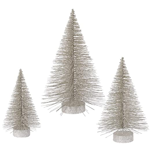 Champagne Glitter Artificial Trees - Set of 3