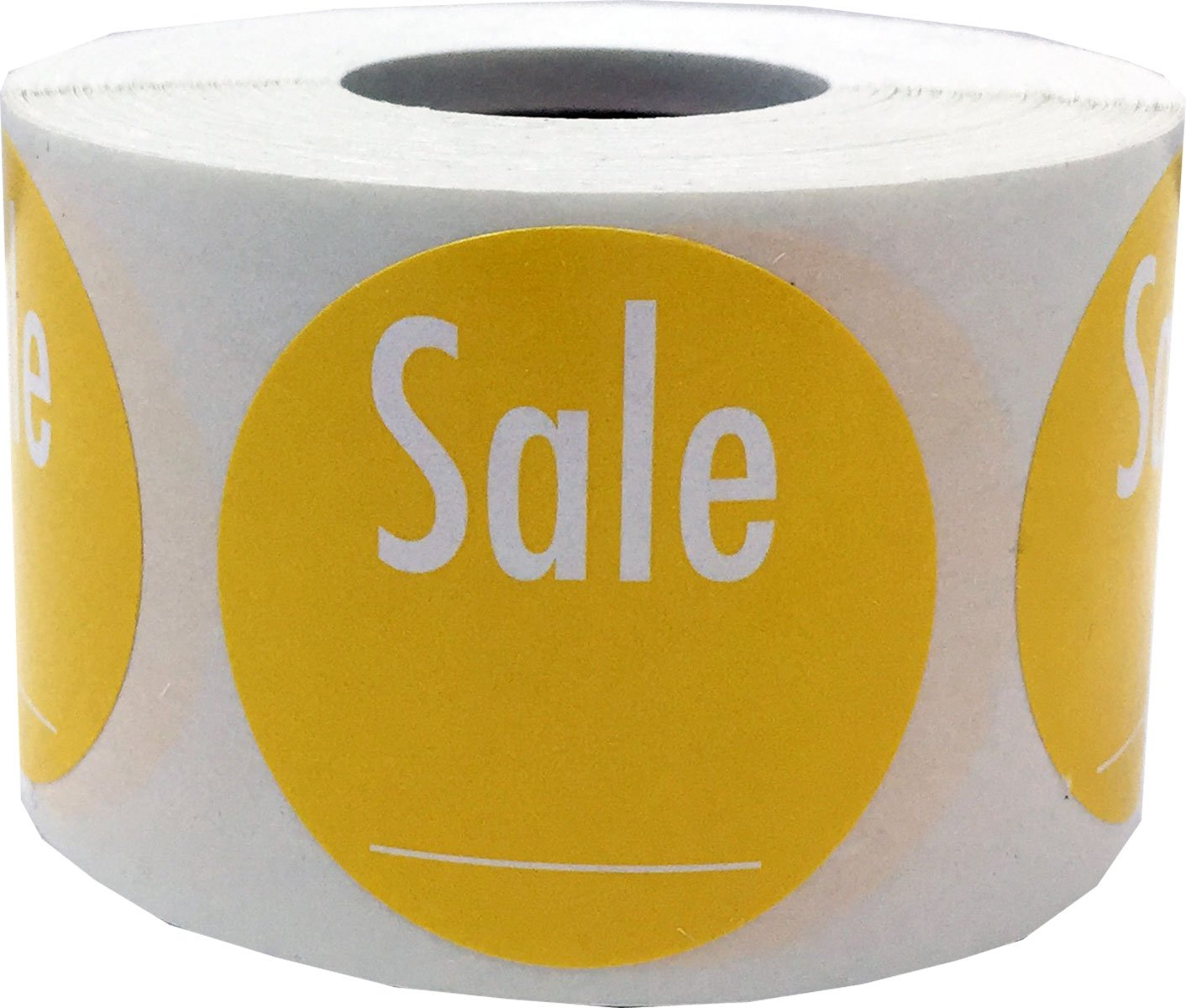 1.5 Inches Round Yellow with White Writable Sale Stickers 500 Labels on a Roll
