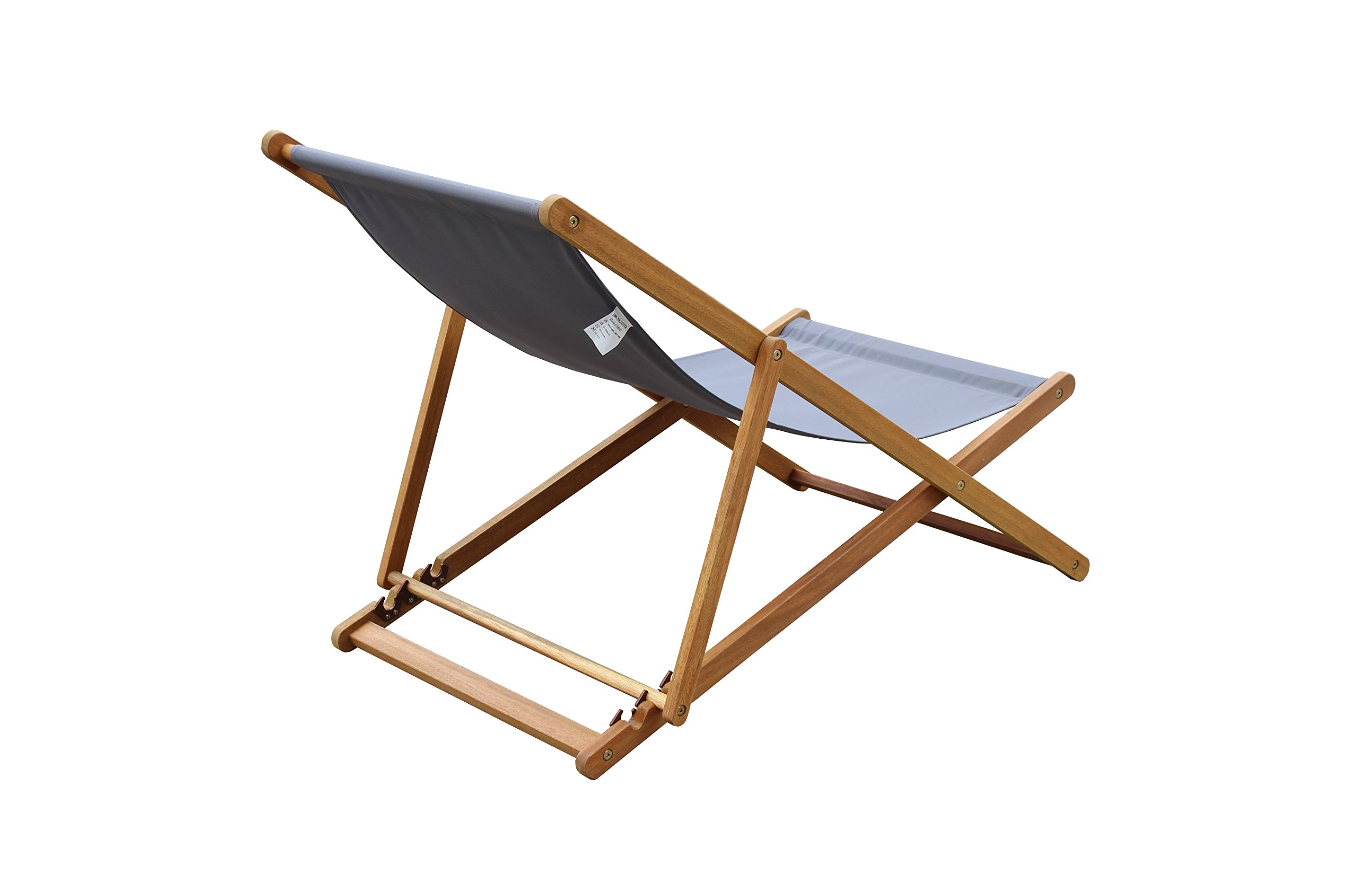Amayo Home Solid Eucalyptus Wood Foldable Sling Chair Garden Seating, Hold 250lbs, Grey Canvas, Adjustable with 3 Reclining Positions. No Assembly. Comfortably Relax Chair in Garden Porch Pool by by Amayo Home (Image #5)