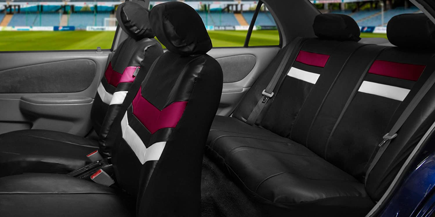 FH Group Leather Full Set Seat Covers Red Airbag Safe PU006RED115 /& Split Bench Ready