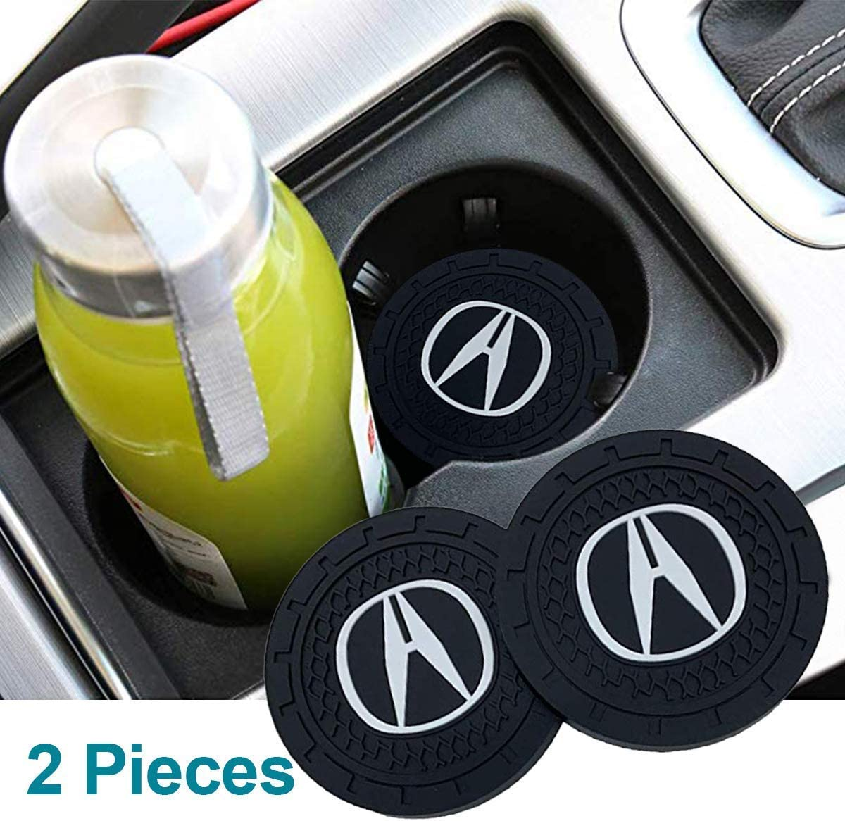 fit All Model JDclubs 2.75 Inch Diameter Oval Tough Car Logo Vehicle Travel Auto Cup Holder Insert Coaster Can 2 Pcs Pack