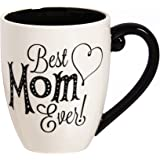 "Cypress Home Black Ink Best Mom Ever 18 oz Ceramic Cup O' Joe Coffee Mug or Tea Cup - 4""W x 5.75""D x 5""H"