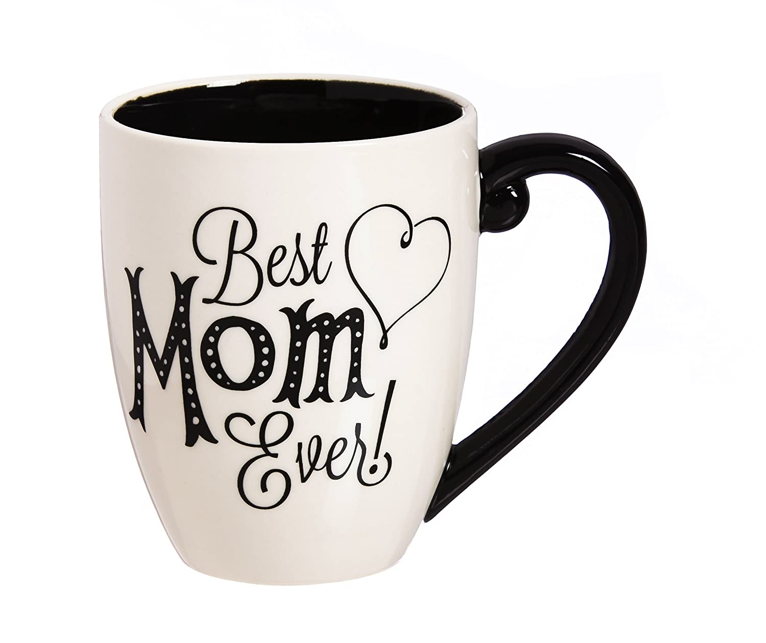 "Cypress Home Black Ink Best Mom Ever 18 oz Ceramic Cup O/' Joe Coffee Mug or Tea Cup 4/""W x 5.75/""D x 5/""H"