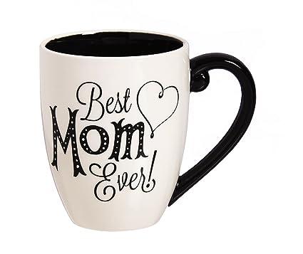 Amazon.com: Cypress Home Black Ink Best Mom Ever 18 oz Ceramic Cup O ...