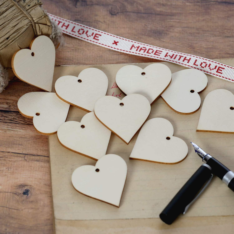 1-10cm Streudeko Basteln Deko Tischdeko Pack mit:100 St/ück Holz Herzen mit Loch Gr/ö/ße:Herzen 3cm