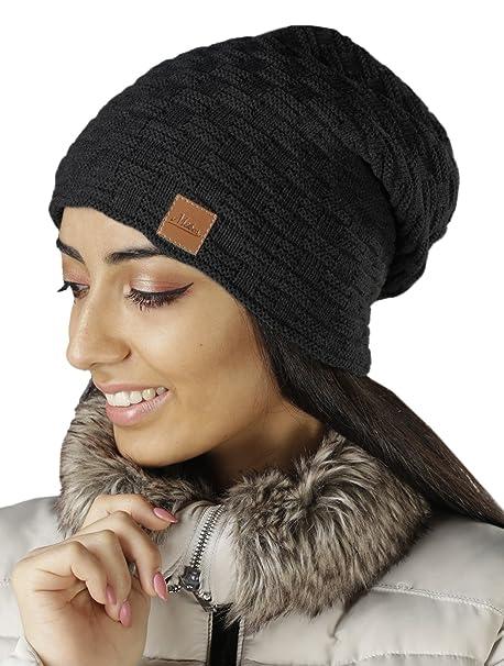 Damen Frauen Mütze mit Flecht Muster warme Feinstrick Beanie Mütze ...