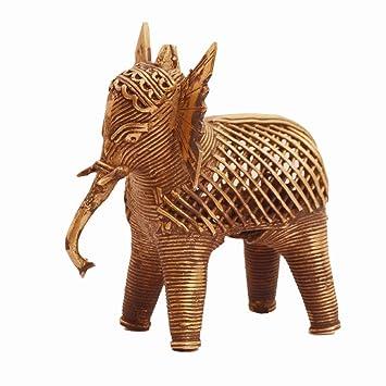 Purpledip Dhokra Kunst Elefant Metall Statue Mit Feng Shui